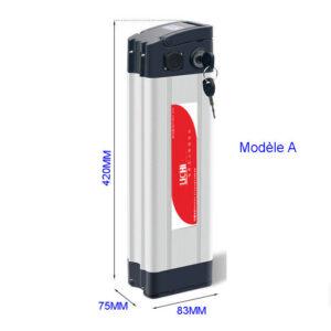 Dimensions de batterie lithium 36v pour vélos électriques : 420*75*83mm