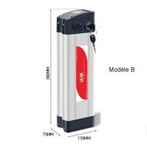 Dimensions de batterie lithium 36v pour vélos électriques : 390*75*110mm