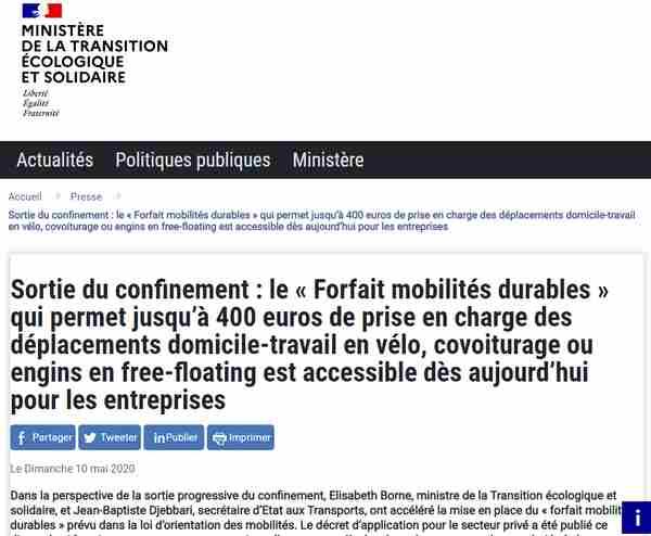 Vélos électriques éligible pour aide financière 400 euros de forfait mobilités durables