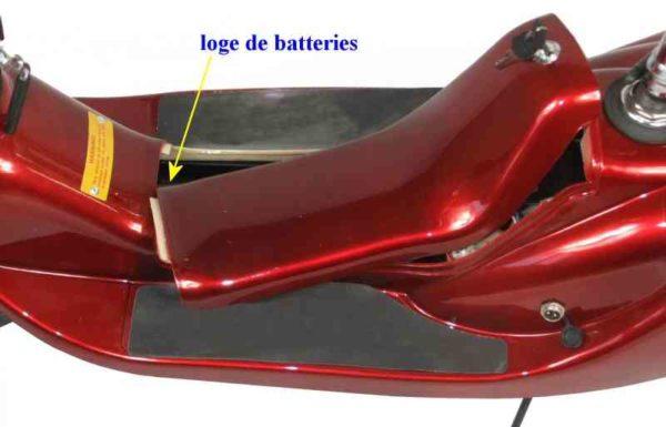 Loge de batterie pour trottinette électrique surfer pliable avec selle