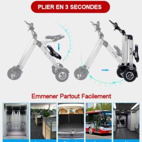 Trottinettes electriques adulte 3 roues avec siege plié emmener partout: ascenseur, bureau, coffre de voiture, bus, métro
