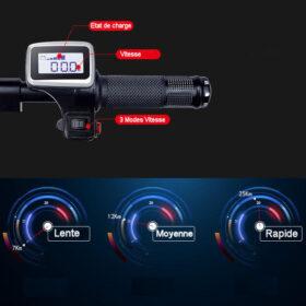 Trottinettes electriques adulte 3 roues pliant avec indicateur de vitesses, & état de charge, 3 modes de vistesses au choix