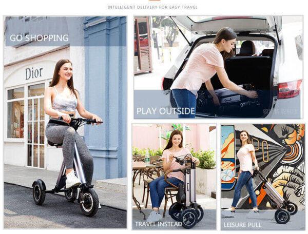Vélo électrique femme pliant 3 roues super léger pour emmener dans ascenseur, bureaux, bus, métro, camping car, bateau...