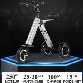 Trottinette électrique adulte 3 roues pliable super léger, équipée de batterie lithium, plie en 3 secondes!