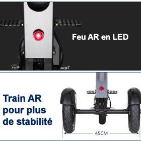 Vélo électrique pliable 3 roues avec feu ar en led avec 3 modes de clignotant, train ar élargi pour plus de stablilité.