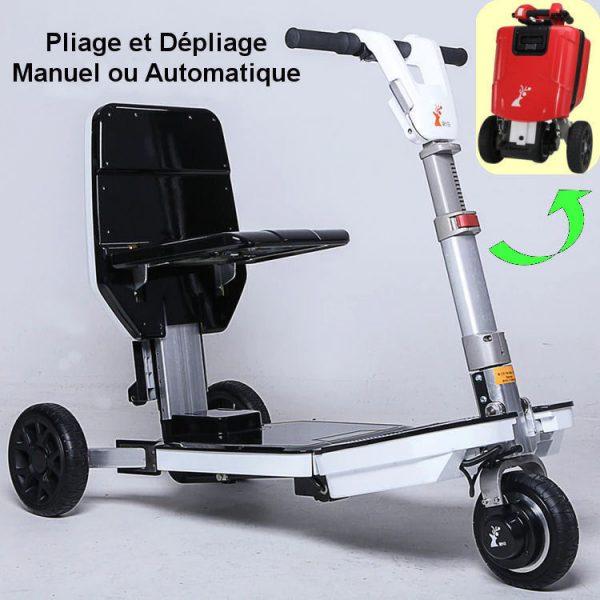 Scooter électrique 3 roues pliable airtrans pliage et dépliage automatique