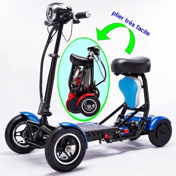 Trottinette électrique 4 roues easy move avec batterie lithium et plie en quelques seconds