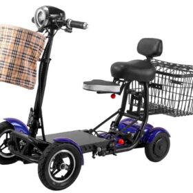 Trottinette électrique pliable 4 roues easy move bleu avec batterie lithium 36v/15ah, et panier avant & arrière