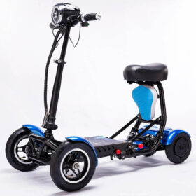 Trottinette électrique pliable 4 roues avec batterie lithium, avec siège enfant, se replie en quelques secondes
