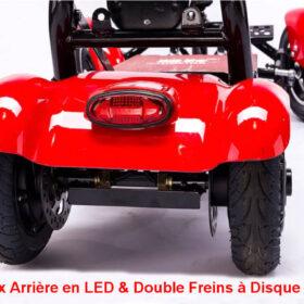 Trottinette électrique 4 roues pliant easy move avec feux arrière en led et double freins à disque