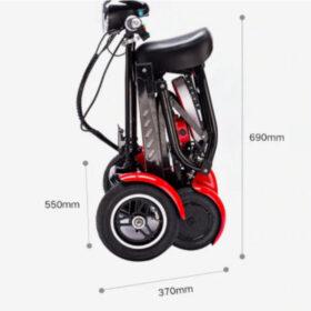 Dimensions fermées de trottinette électrique pliable 4 roues avec batterie lithium