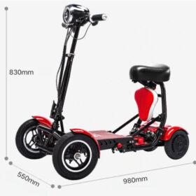 Dimensions ouvertes de trottinette électrique pliable 4 roues avec batterie lithium